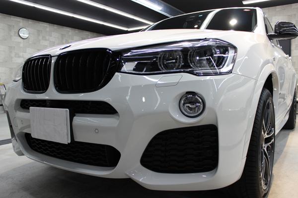 BMW X4 Mスポーツ アルピンホワイト フロントバンパー1