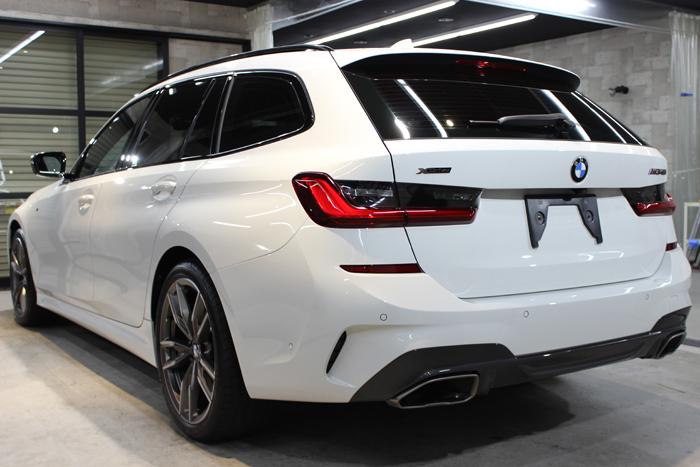 BMW M340i アルピンホワイト リアバンパー左