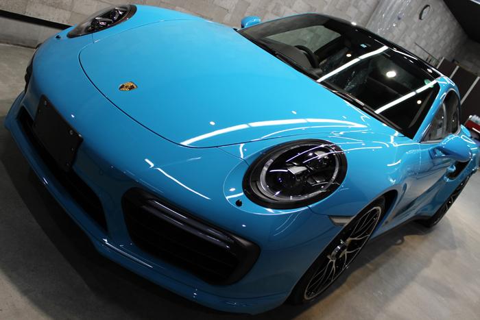 ポルシェ 911 ターボS マイアミブルー ボンネット1