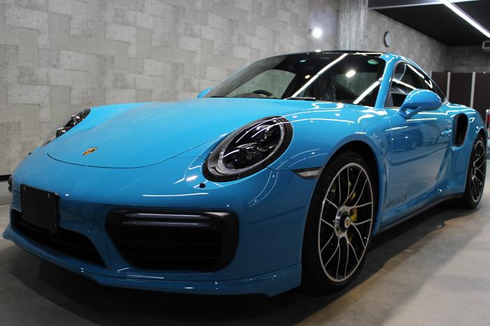 ポルシェ 911 ターボS マイアミブルー ボンネット2