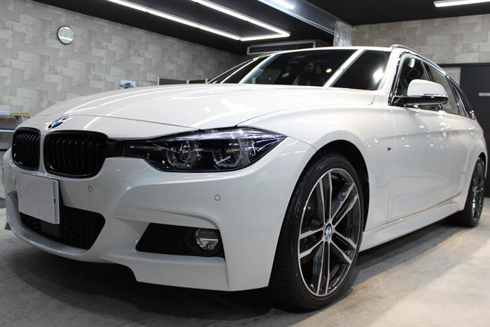 BMW 320d Mスポーツ エディションシャドー アルピンホワイト フロントバンパー1