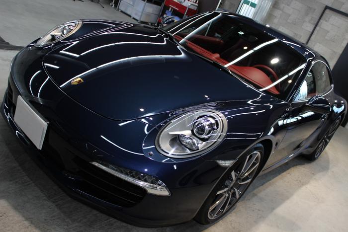 ポルシェ 911 カレラS ダークブルーメタリック 991 ボンネット左