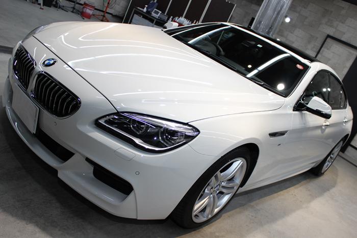 BMW 640iグランクーペ アルピンホワイト ボンネット左