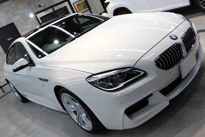 BMW 640iグランクーペ アルピンホワイト ボンネット右